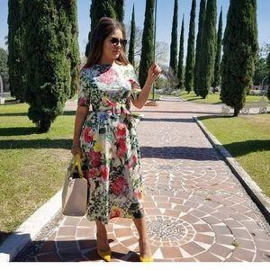 Zara floral print midi dress with belt